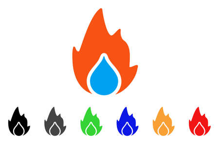 Fire And Water Drop icon. Vector illustration style is a flat iconic fire and water drop symbol with black, gray, green, blue, red, orange color variants. Designed for web and software interfaces.