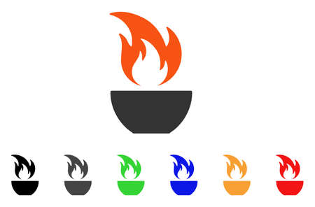 Fire Bowl icon. Vector illustration style is a flat iconic fire bowl symbol with black, grey, green, blue, red, orange color versions. Designed for web and software interfaces. Illustration
