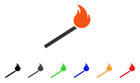 Match Fire icon. Vector illustration style is a flat iconic match fire symbol with black, gray, green, blue, red, orange color additional versions. Designed for web and software interfaces.
