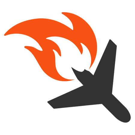 飛行機火災フラット ベクトル アイコン。白い背景の上の隔離されたイラスト。