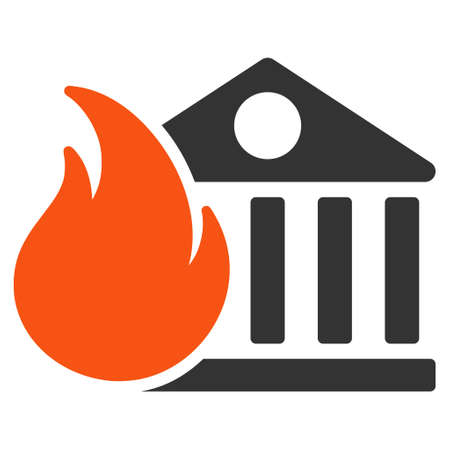 Bank Fire Conflagration flat vector icon. An isolated illustration on a white background.  イラスト・ベクター素材