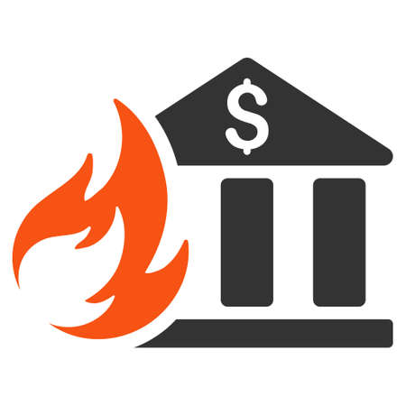 Bank Fire Disaster flat vector pictograph. An isolated illustration on a white background.