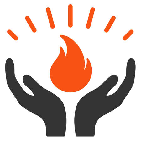 Fire Care Hands flat vector icon. An isolated illustration on a white background.