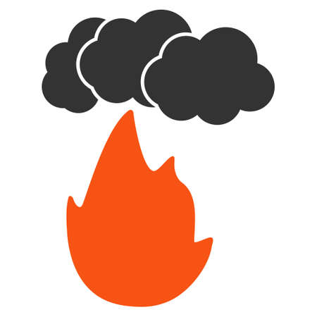 Flame With Smoke flat vector pictograph. An isolated illustration on a white background.