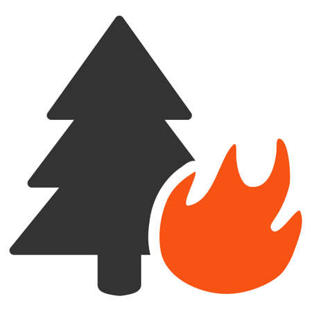 Forest Fire flat vector illustration. An isolated illustration on a white background.
