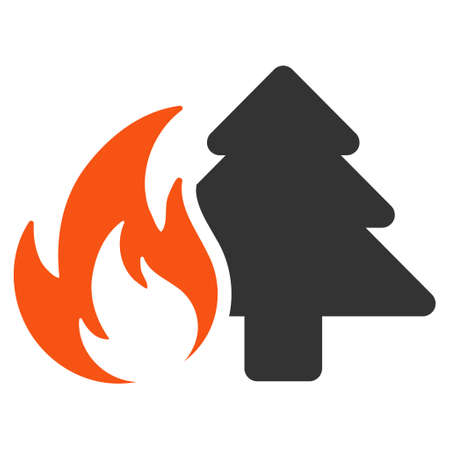 Forest Fire flat vector icon. An isolated illustration on a white background.