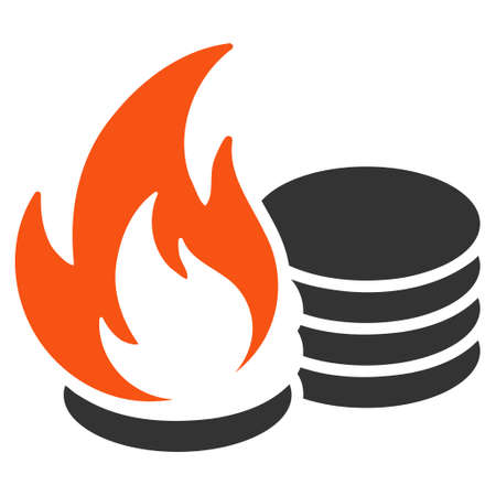 Coins Fire Disaster flat vector pictogram. An isolated illustration on a white background. Illustration