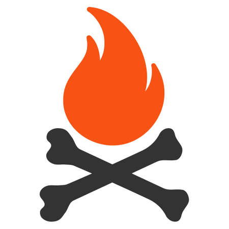 mortal: Death Bones Flame flat vector icon. An isolated illustration on a white background.