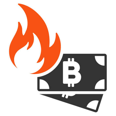Bitcoin Cash Fire flat vector pictograph. An isolated illustration on a white background. Illustration