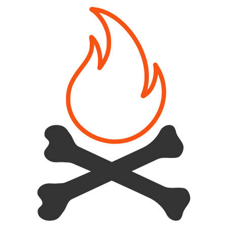 Bones Hell Fire flat vector icon. An isolated illustration on a white background. Illustration