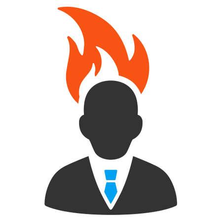 ビジネスマンの頭フラット ベクトル アイコンを燃やします。白い背景の上の隔離されたイラスト。