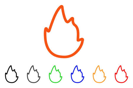 Fire Contour icon. Vector illustration style is a flat iconic fire contour symbol with black, gray, green, blue, red, orange color versions. Designed for web and software interfaces.