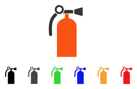 Fire Extinguisher icon. Vector illustration style is a flat iconic fire extinguisher symbol with black, gray, green, blue, red, orange color variants. Designed for web and software interfaces.