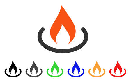 Fire Place icon. Vector illustration style is a flat iconic fire place symbol with black, grey, green, blue, red, orange color versions. Designed for web and software interfaces. Stock Vector - 86539526