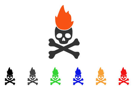 Hell Fire icon. Vector illustration style is a flat iconic hell fire symbol with black, gray, green, blue, red, orange color variants. Designed for web and software interfaces. Illustration