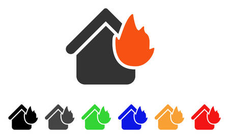 Home Fire Disaster icon. Vector illustration style is a flat iconic home fire disaster symbol with black, gray, green, blue, red, orange color additional versions. Illustration