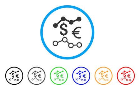 通貨のチャートには、アイコンが丸められます。スタイルは、黒、グレー、緑、青、赤、オレンジのバージョンと光の青い円の中のフラット通貨を  イラスト・ベクター素材