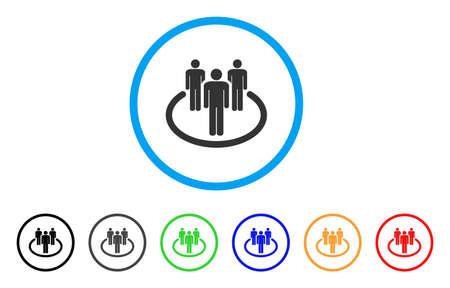 コミュニティには、アイコンが丸められます。スタイルは、黒、グレー、緑、青、赤、オレンジのバージョンと光の青い円の中の灰色フラット コミ  イラスト・ベクター素材