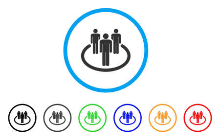 Community rounded icon. Style is a flat community gray symbol inside light blue circle with black, gray, green, blue, red, orange versions. Vector designed for web and software interfaces. Illustration