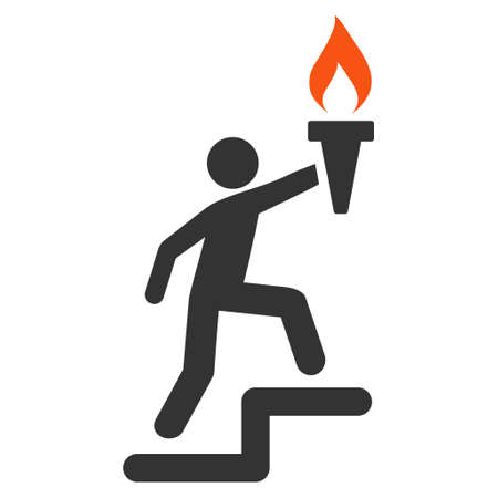 Leader Climb With Torch flat vector icon. An isolated illustration on a white background.