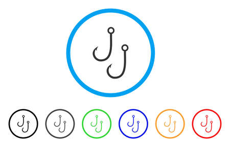fishhook: Two Fishing Hooks rounded icon. Style is a flat two fishing hooks gray symbol inside light blue circle with black, gray, green, blue, red, orange color versions.