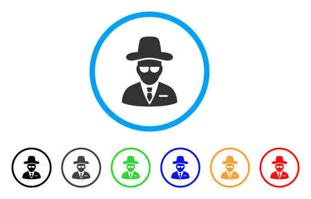 Agent rounded icon. Style is a flat agent grey symbol inside light blue circle with black, gray, green, blue, red, orange versions. Vector designed for web and software interfaces. Ilustração