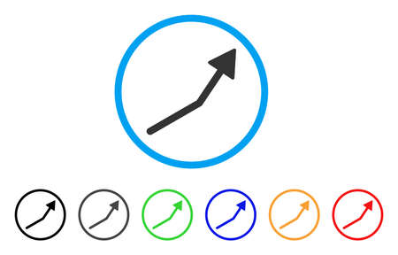 Positive Trend Arrow rounded icon. Style is a flat positive trend arrow grey symbol inside light blue circle with black, gray, green, blue, red, orange color versions.