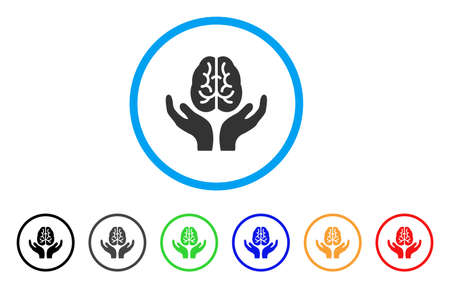 Brain Care Hands rounded icon. Style is a flat brain care hands grey symbol inside light blue circle with black, gray, green, blue, red, orange color versions.