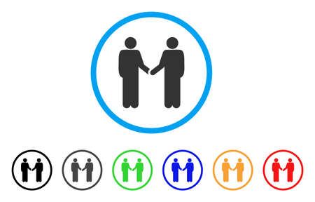 Persons Handshake rounded icon. Style is a flat persons handshake gray symbol inside light blue circle with black, gray, green, blue, red, orange color versions.