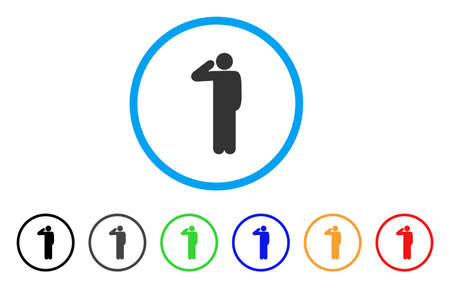 Salute Pose rounded icon. Style is a flat salute pose grey symbol inside light blue circle with black, gray, green, blue, red, orange color versions. Vector designed for web and software interfaces.