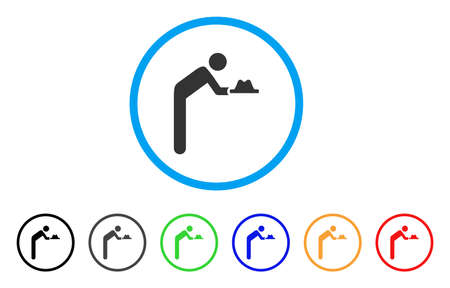 Servant With Hat rounded icon. Style is a flat servant with hat grey symbol inside light blue circle with black, gray, green, blue, red, orange versions. Illustration