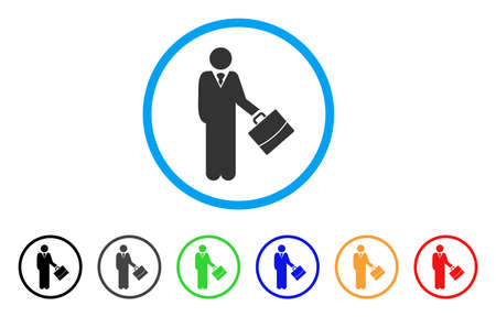 Standing Businessman rounded icon. Style is a flat standing businessman gray symbol inside light blue circle with black, gray, green, blue, red, orange variants.