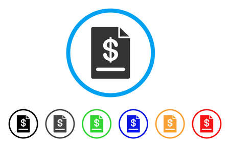 Invoice rounded icon. Style is a flat invoice grey symbol inside light blue circle with black, gray, green, blue, red, orange variants. Vector designed for web and software interfaces.