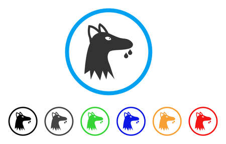 Mad Dog rounded icon. Style is a flat mad Dog grey symbol inside light blue circle with black, gray, green, blue, red, orange color versions. Vector designed for web and software interfaces.