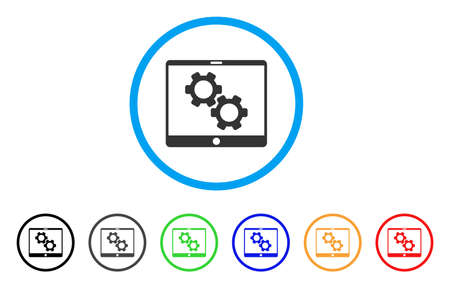 electronic components: Tablet Settings Gears rounded icon. Style is a flat tablet settings gears gray symbol inside light blue circle with black, gray, green, blue, red, orange variants.