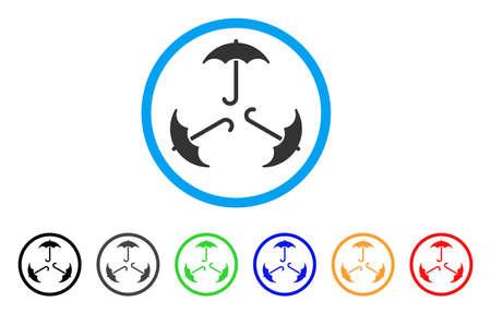 Triple Umbrella rounded icon. Style is a flat triple umbrella gray symbol inside light blue circle with black, gray, green, blue, red, orange versions. Vector designed for web and software interfaces.