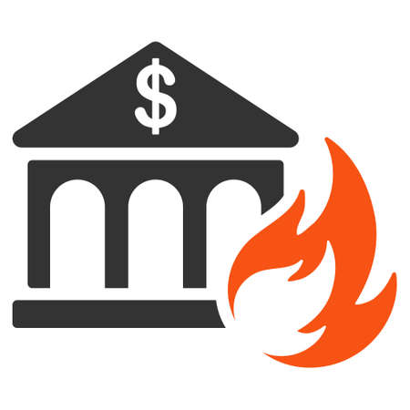 Bank Fire Disaster flat raster pictogram. An isolated illustration on a white background.