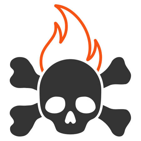 Death Fire flat raster icon. An isolated illustration on a white background.