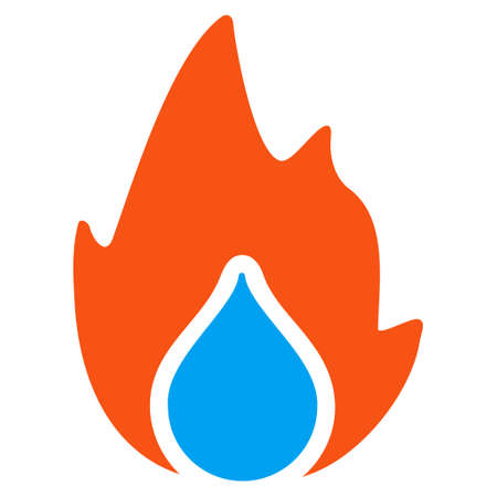 Fire And Water Drop flat raster pictograph. An isolated illustration on a white background. Stock Photo