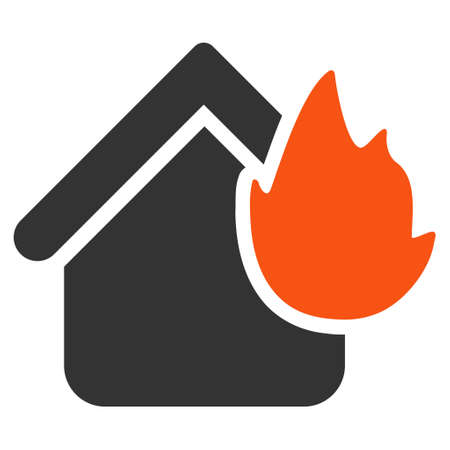 Home Fire Disaster flat raster pictograph. An isolated illustration on a white background. Stock Photo