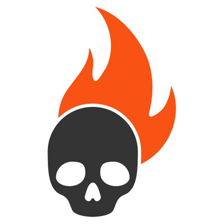 Skull Fire flat raster icon. An isolated illustration on a white background. Stock Photo