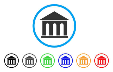 A Museum Building rounded icon. Style is a flat museum building gray symbol inside light blue circle with black, gray, green, blue, red, orange variants. Vector designed for web and software interfaces.