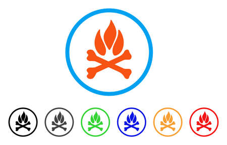 Bones Campfire rounded icon. Style is a flat bones campfire orange symbol inside light blue circle with black, gray, green, blue, red, orange color versions. Illustration