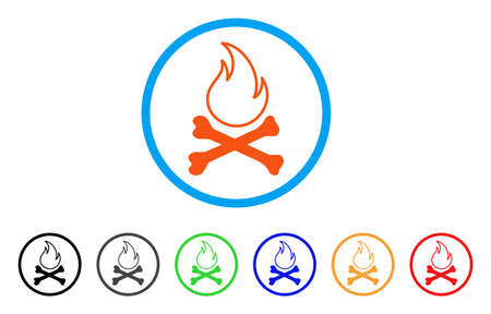 Bones Hell Fire rounded icon. Style is a flat bones hell fire orange symbol inside light blue circle with black, gray, green, blue, red, orange versions. Illustration