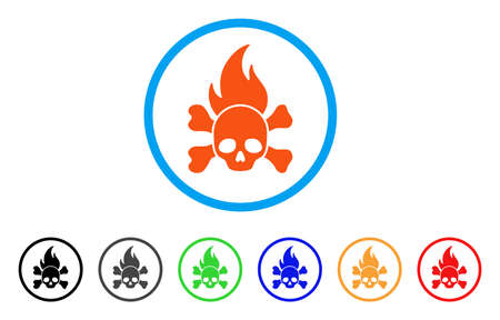Death Fire rounded icon. Style is a flat death fire orange symbol inside light blue circle with black, gray, green, blue, red, orange variants. Vector designed for web and software interfaces. Illustration