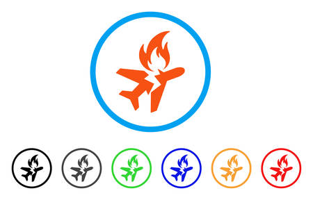 Airplane fire crash rounded icon. Ilustração Vetorial
