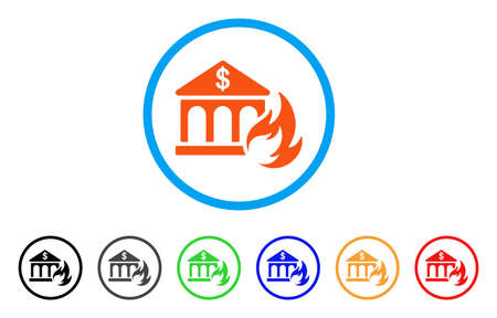 Bank Fire Disaster rounded icon. Style is a flat bank fire disaster orange symbol inside light blue circle with black, gray, green, blue, red, orange versions.