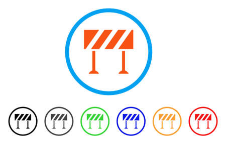 Barrier rounded icon. Style is a flat barrier orange symbol inside light blue circle with black, gray, green, blue, red, orange variants. Vector designed for web and software interfaces.