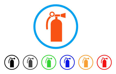 Fire Extinguisher rounded icon. Style is a flat fire extinguisher orange symbol inside light blue circle with black, gray, green, blue, red, orange versions.