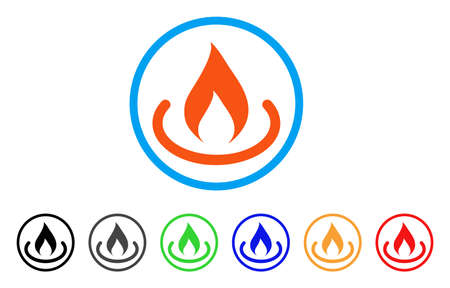 Fire Place rounded icon. Style is a flat fire place orange symbol inside light blue circle with black, gray, green, blue, red, orange versions. Vector designed for web and software interfaces.
